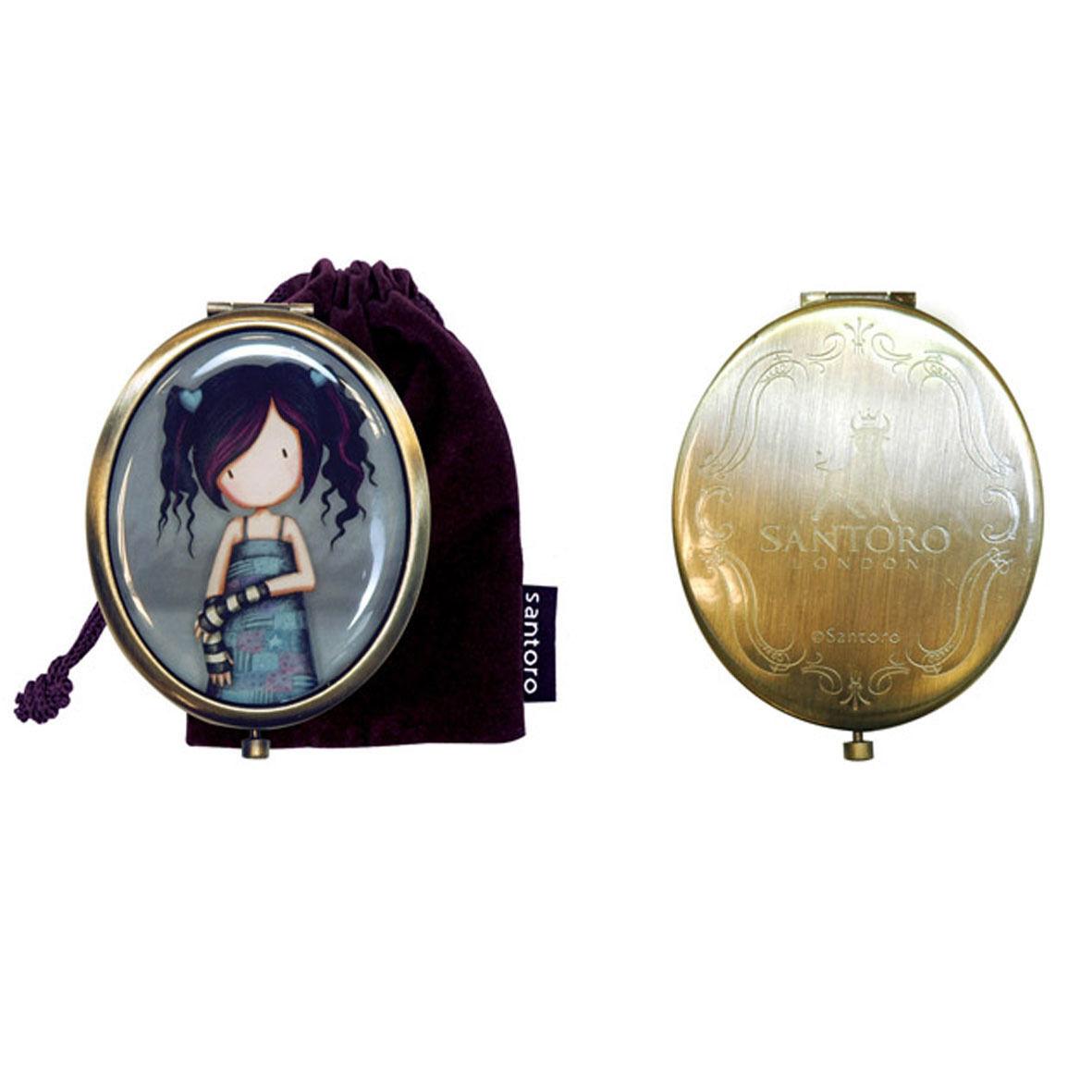 GORJUSS specchietto compatto in metallo ottonato con sacchetto 7,5x6 cm SANTORO