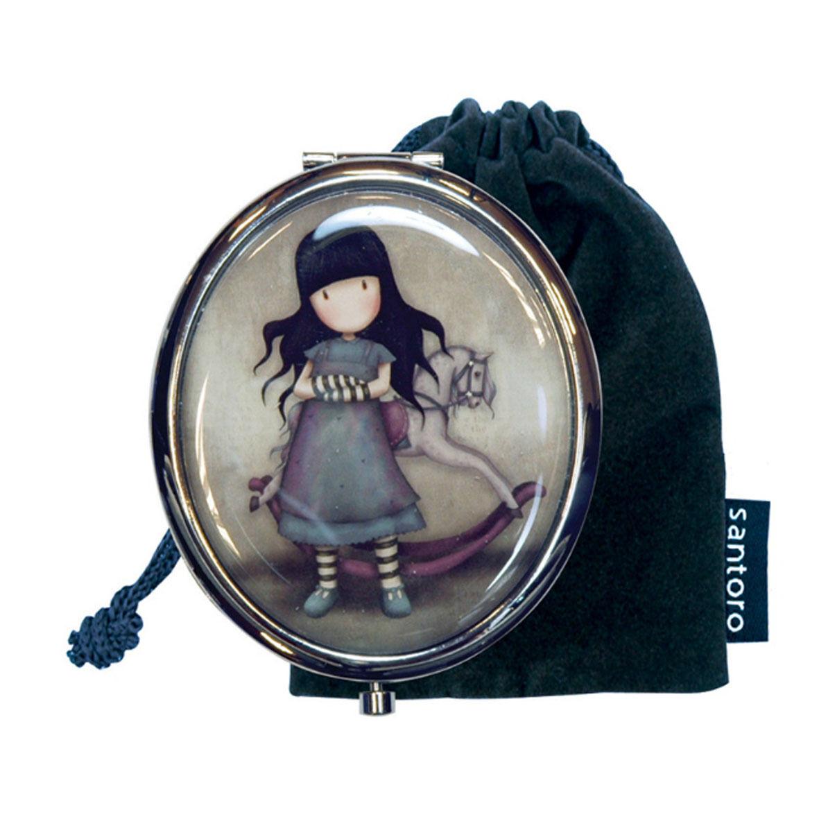 GORJUSS specchietto compatto in metallo argentato con sacchetto 7,5x6 cm SANTORO