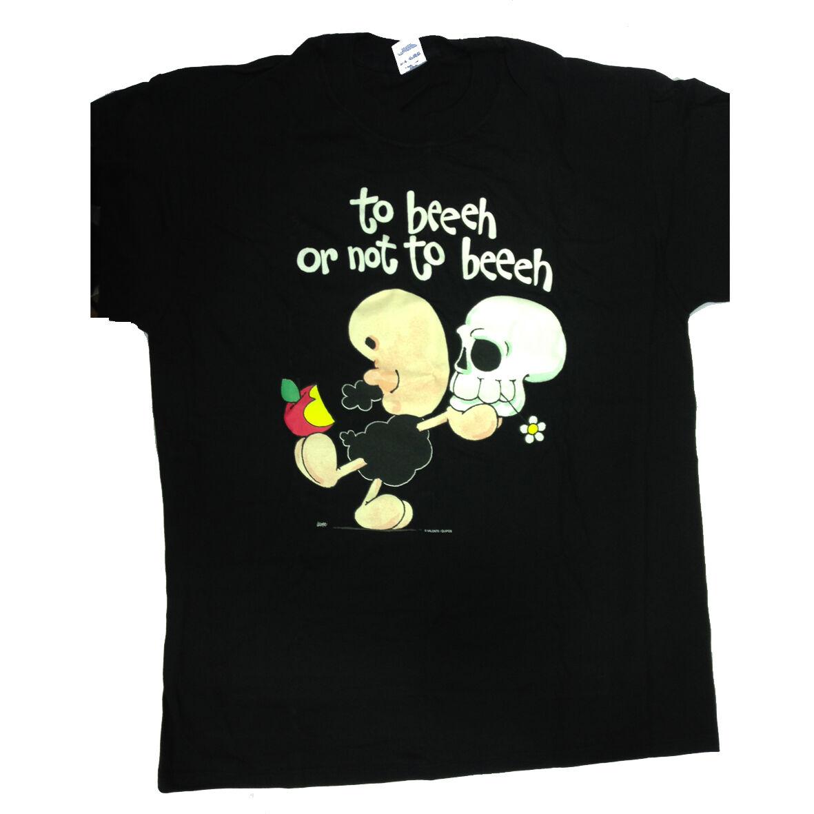 T-shirt umoristiche PECORA NERA 100% cotone nera TO BEEEH OR NOT TO BEEH