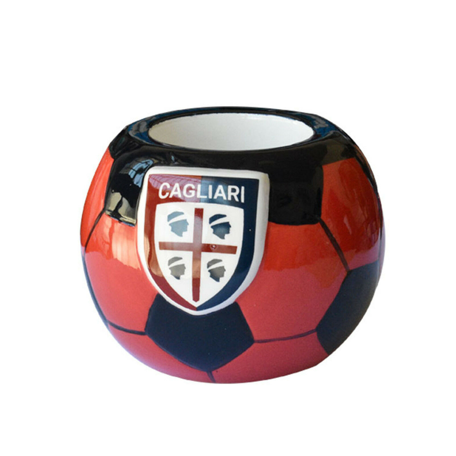 CAGLIARI CALCIO portapenne e matite in ceramica a forma di pallone circa 8,5 cm