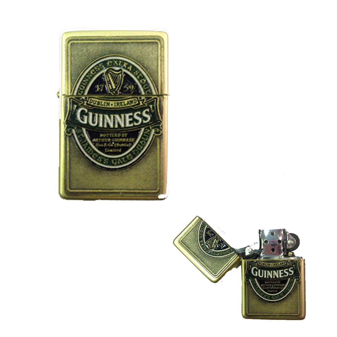 Accendino Guinness dorato simil accendino americano con logo in rilievo laccato