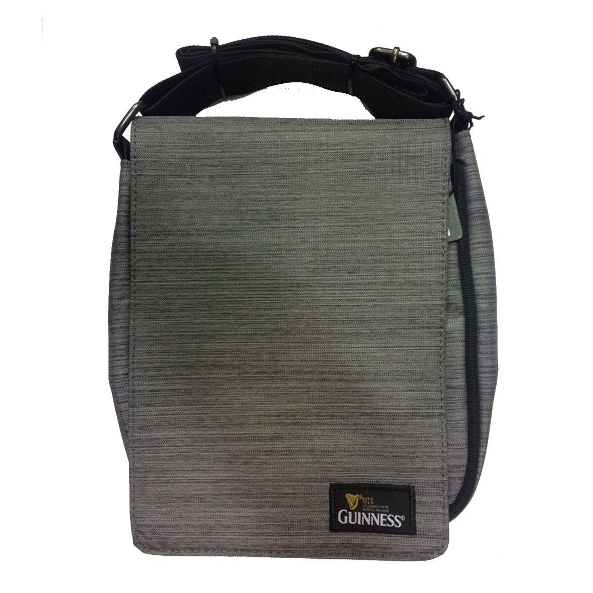 GUINNESS marsupio tracolla regolabile in stoffa grigio melange 2 tasche 24x19x4