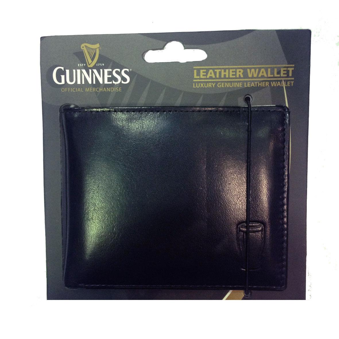 GUINNESS portafoglio in pelle nera con incisione boccale e scritta guinness