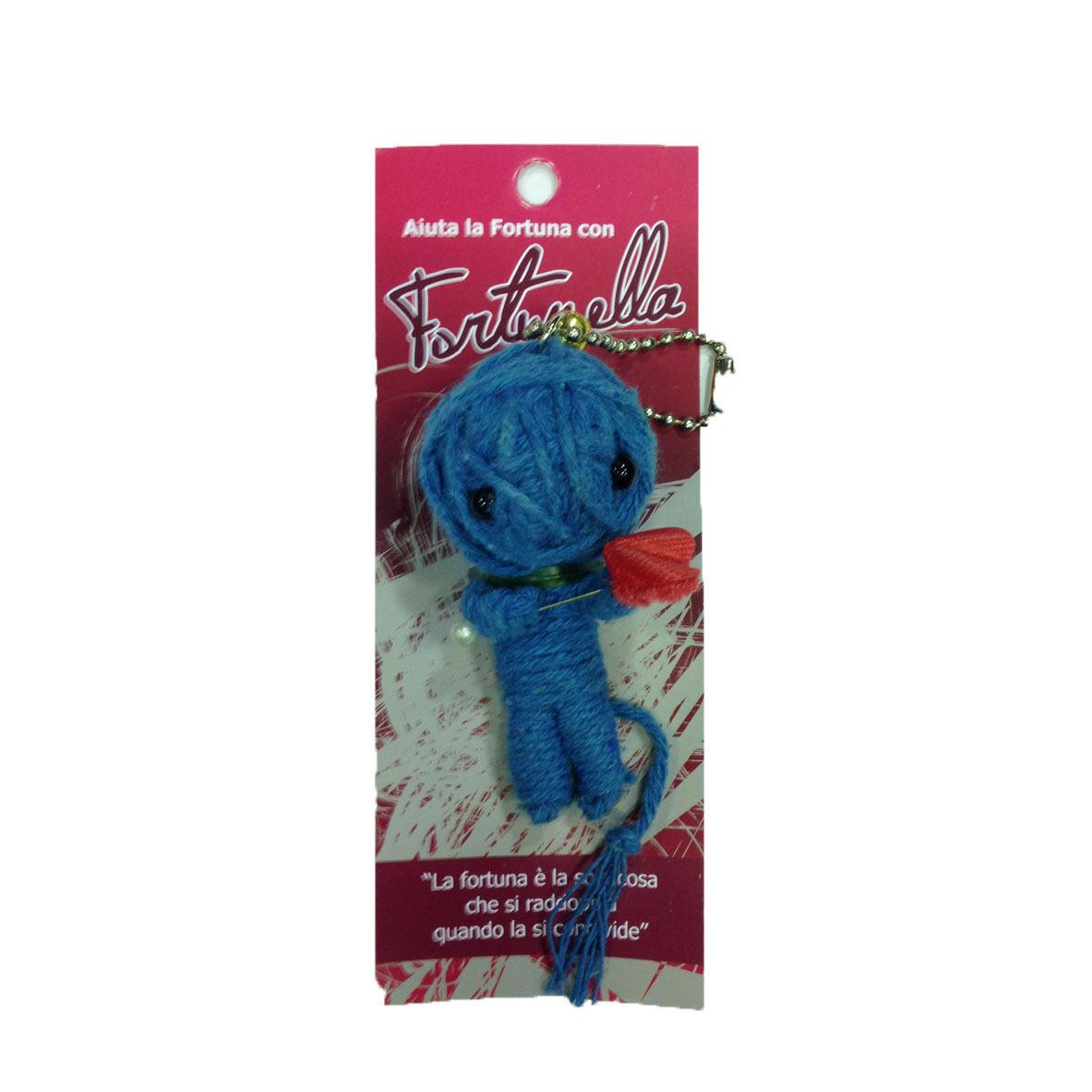 Bambolina in filo portachiavi FORTUNELLA AIUTA LA FORTUNA ti voglio bene azzurro