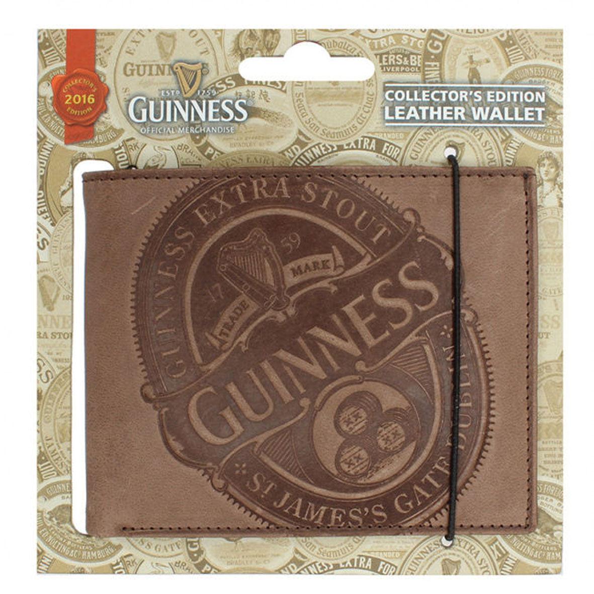 GUINNESS  portafoglio uomo in pelle marrone con stemma inciso 11x9 cm
