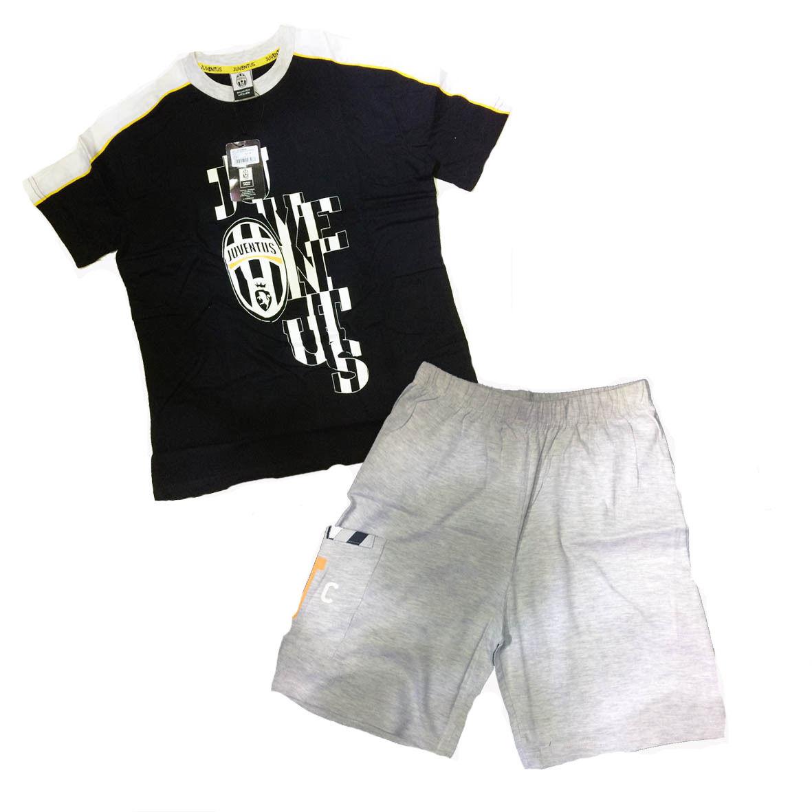 JUVENTUS pigiama corto 2 pezzi grigio in jersey varie taglie prodotto ufficiale