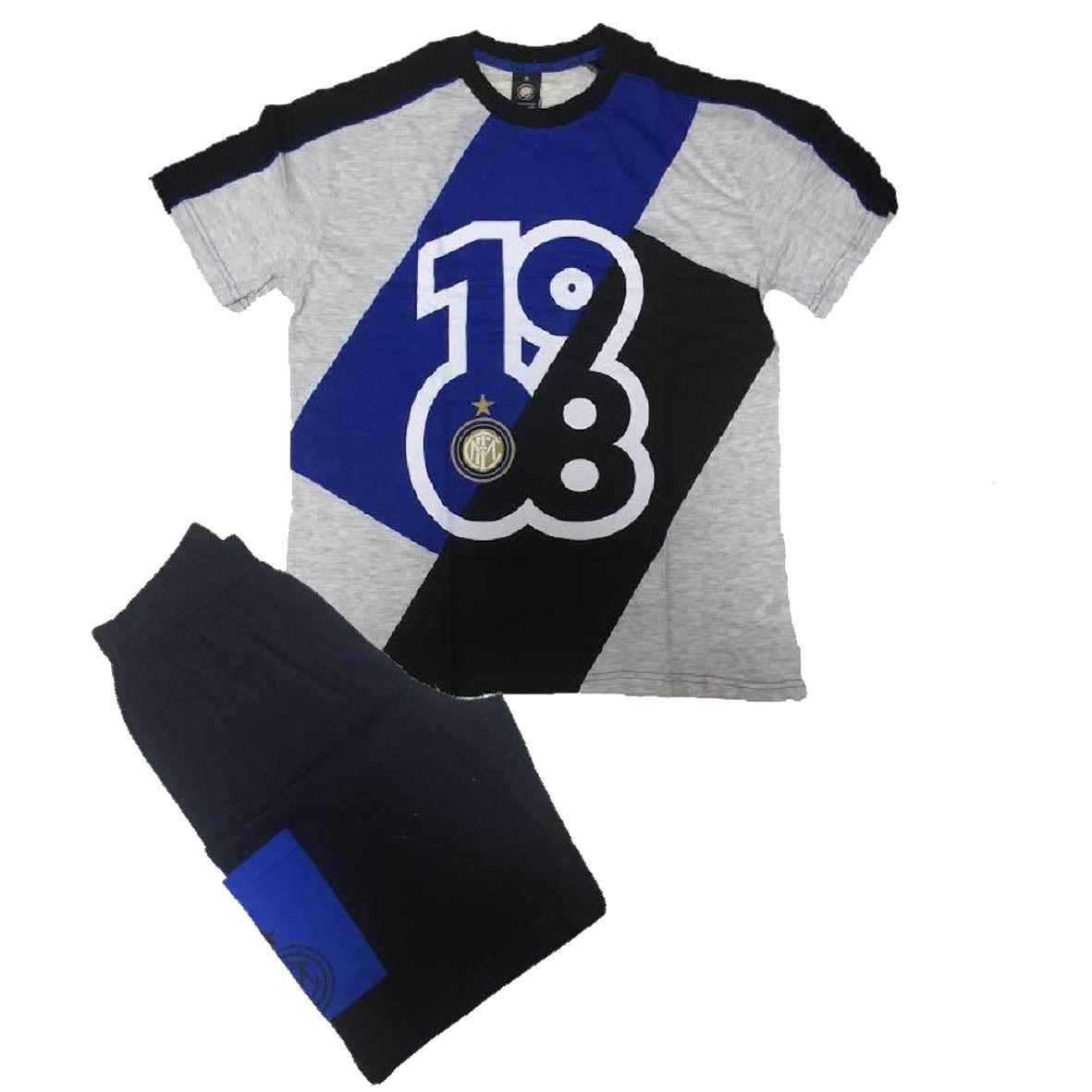 INTER pigiama corto 2 pezzi grigio in jersey varie taglie prodotto ufficiale