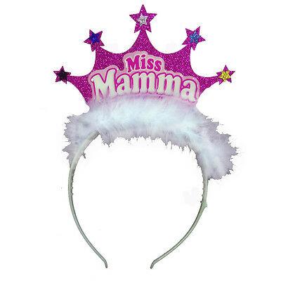 MAMMA Frontino con coroncina glitterata fucsia con stelle e piume MISS MAMMA