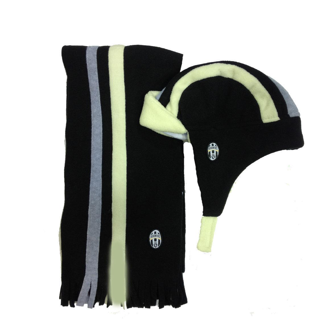 JUVENTUS set sciarpa+cappello nero con paraorecchie in morbido pile da bambino