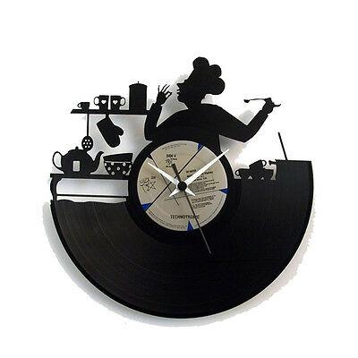 Orologio da parete in vinile con cuoco inciso a laser