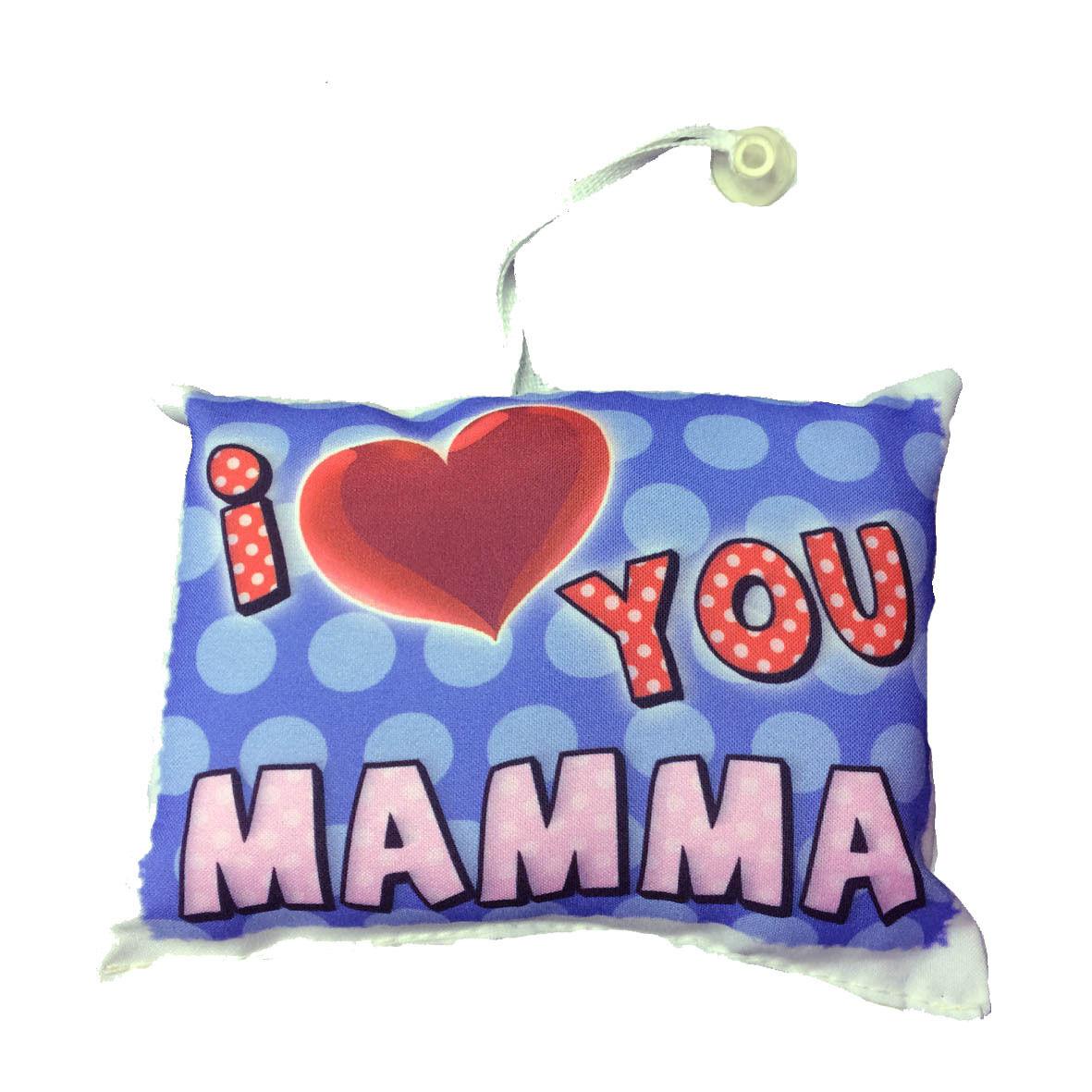 MAMMA mini cuscino auto con ventosa personalizzabile I LOVE YOU MAMMA 16,5x12,5