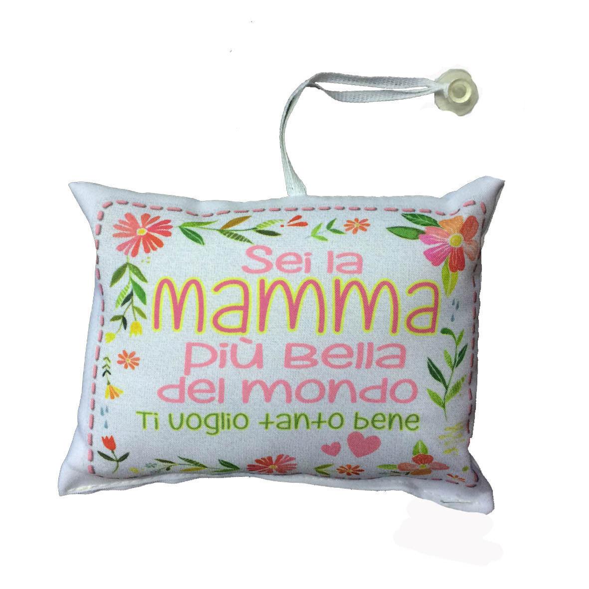 MAMMA mini cuscino auto con ventosa personalizzabile SEI LA MAMMA...16,5x12,5 cm