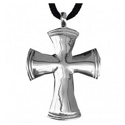 Ciondolo croce in metallo con cordoncino made in italy
