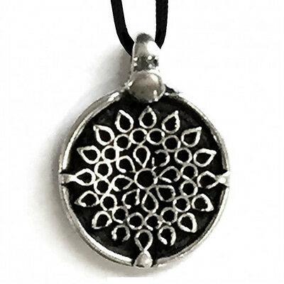 Ciondolo fiore in metallo con cordoncino made in italy