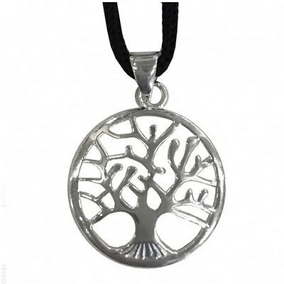Ciondolo piccolo albero della vita in metallo con cordoncino made in italy