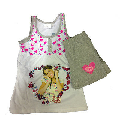 VIOLETTA pigiama corto t-shirt+pantaloncino in cotone bianco e grigio da bambina