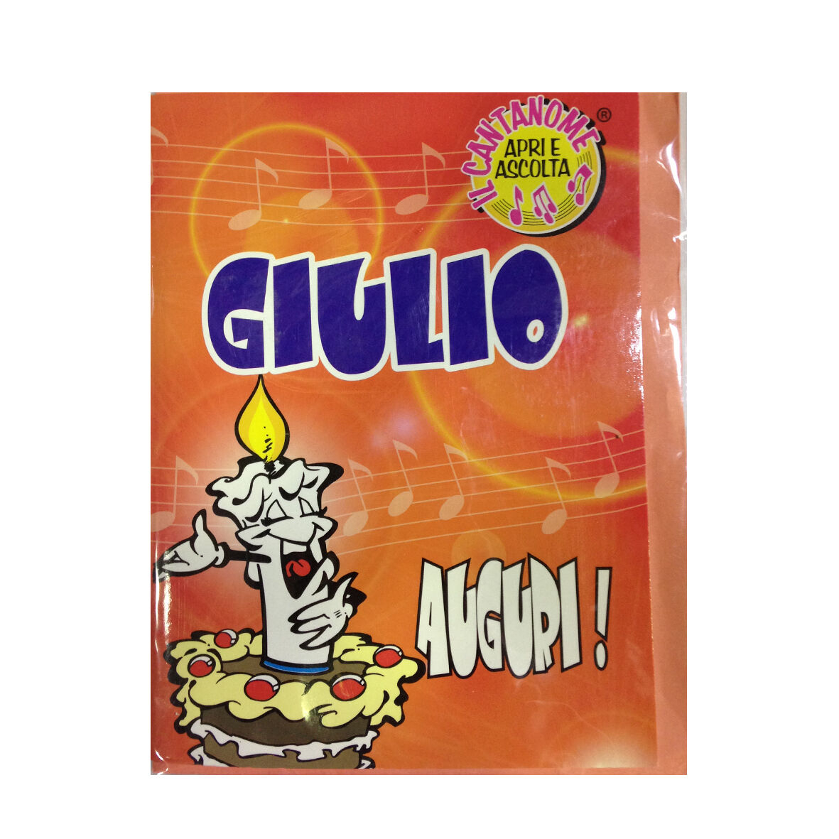 COMPLEANNO biglietto musicale canta nome GIULIO e TANTI AUGURI A TE
