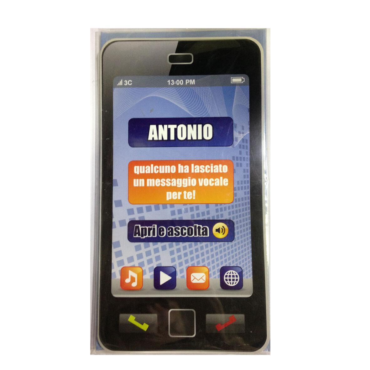 COMPLEANNO biglietto musicale a telefono squilla segreteria nome ANTONIO