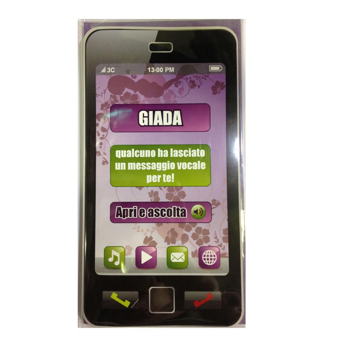 COMPLEANNO biglietto musicale a telefono squilla segreteria nome GIADA