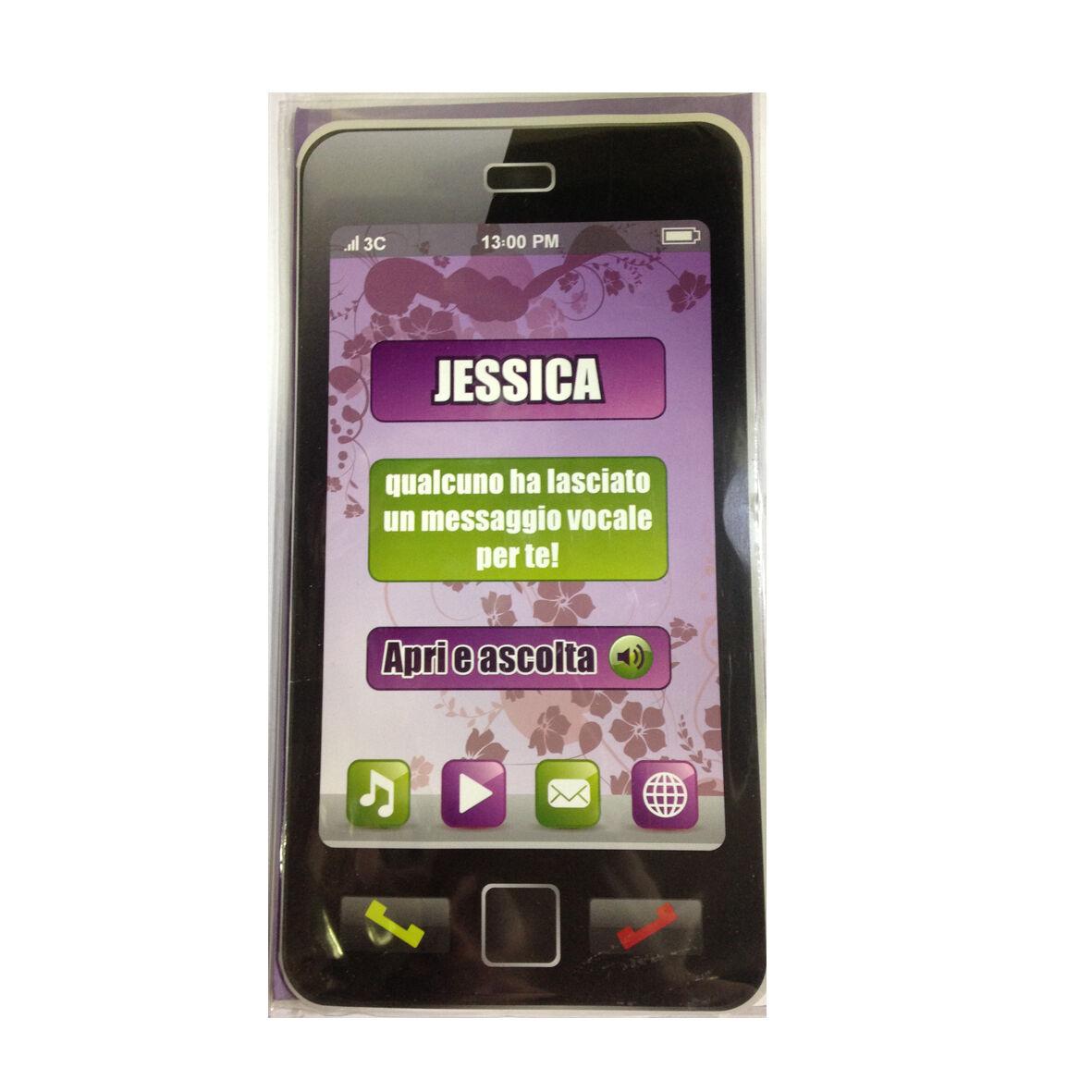 COMPLEANNO biglietto musicale a telefono squilla segreteria nome JESSICA