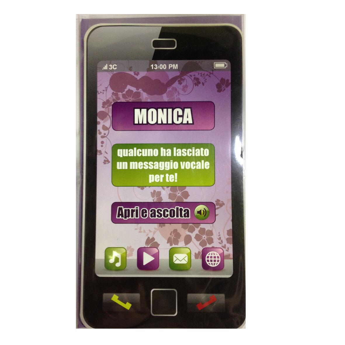 COMPLEANNO biglietto musicale a telefono squilla segreteria nome MONICA