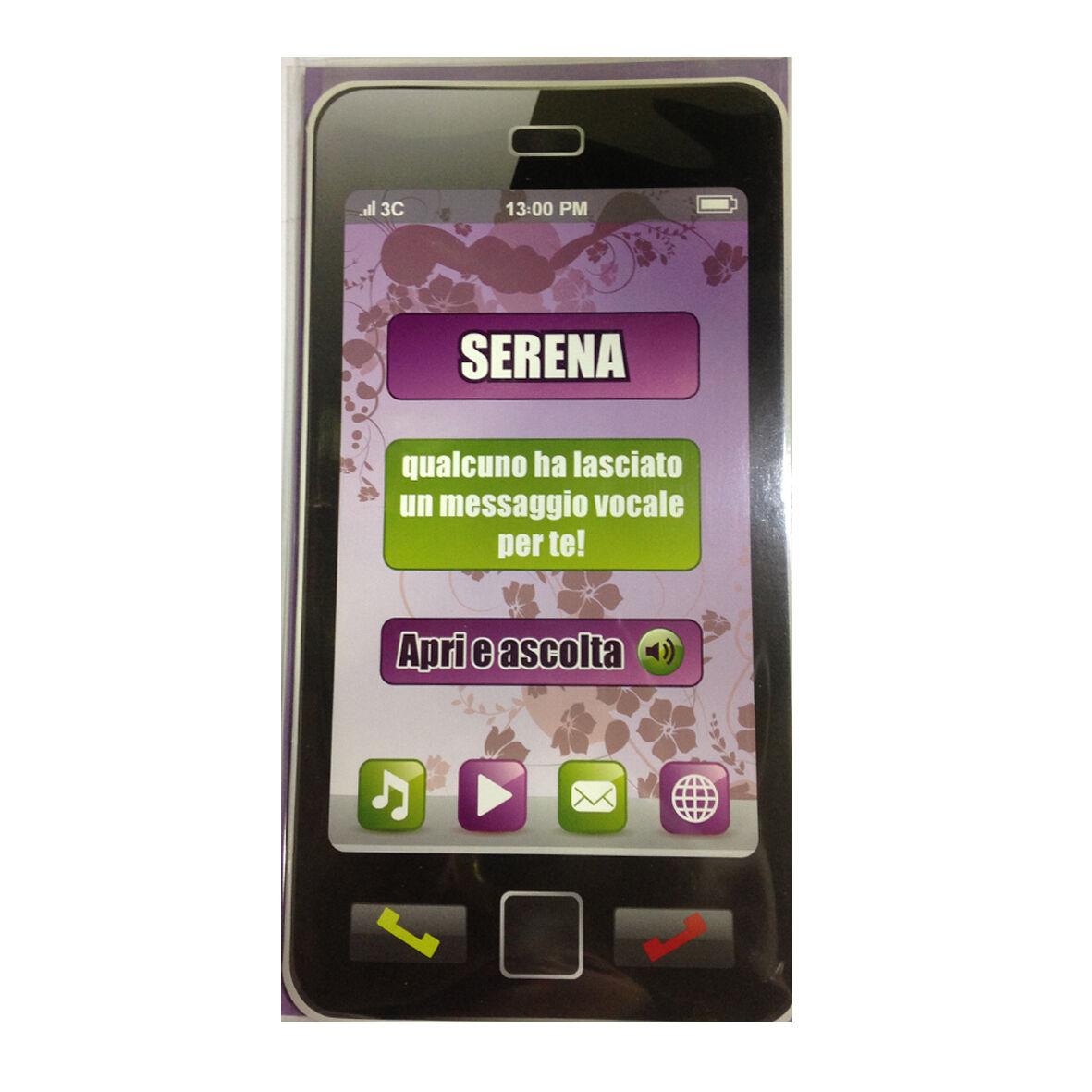 COMPLEANNO biglietto musicale a telefono squilla segreteria nome SERENA