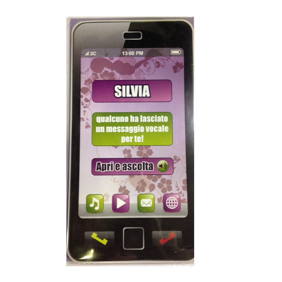 COMPLEANNO biglietto musicale a telefono squilla segreteria nome SILVIA