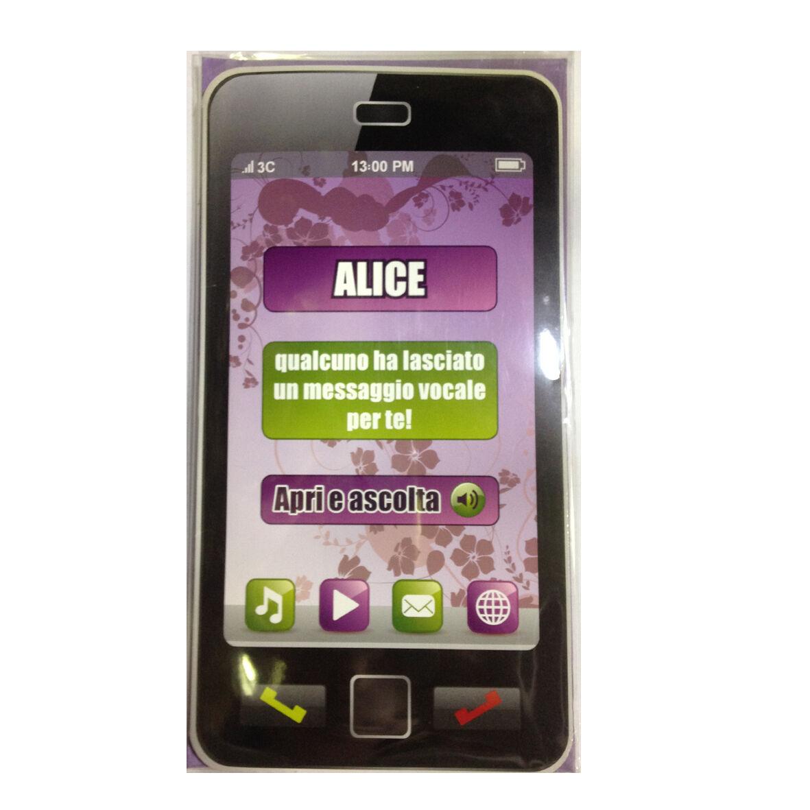 COMPLEANNO biglietto musicale a telefono squilla segreteria nome ALICE