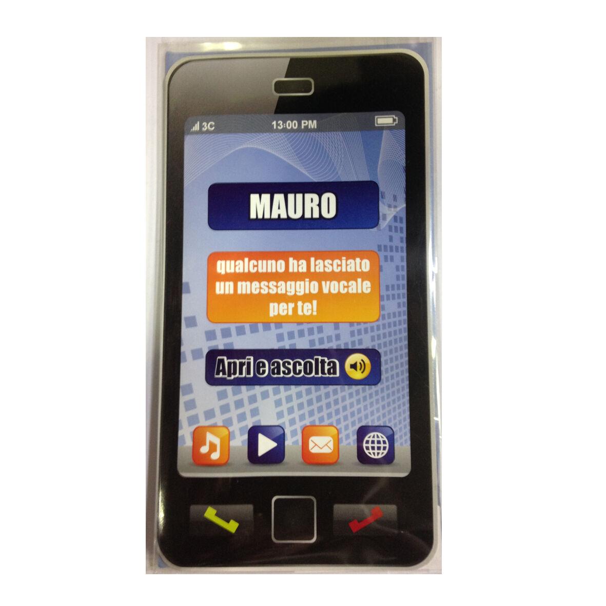 COMPLEANNO biglietto musicale a telefono squilla segreteria nome MAURO