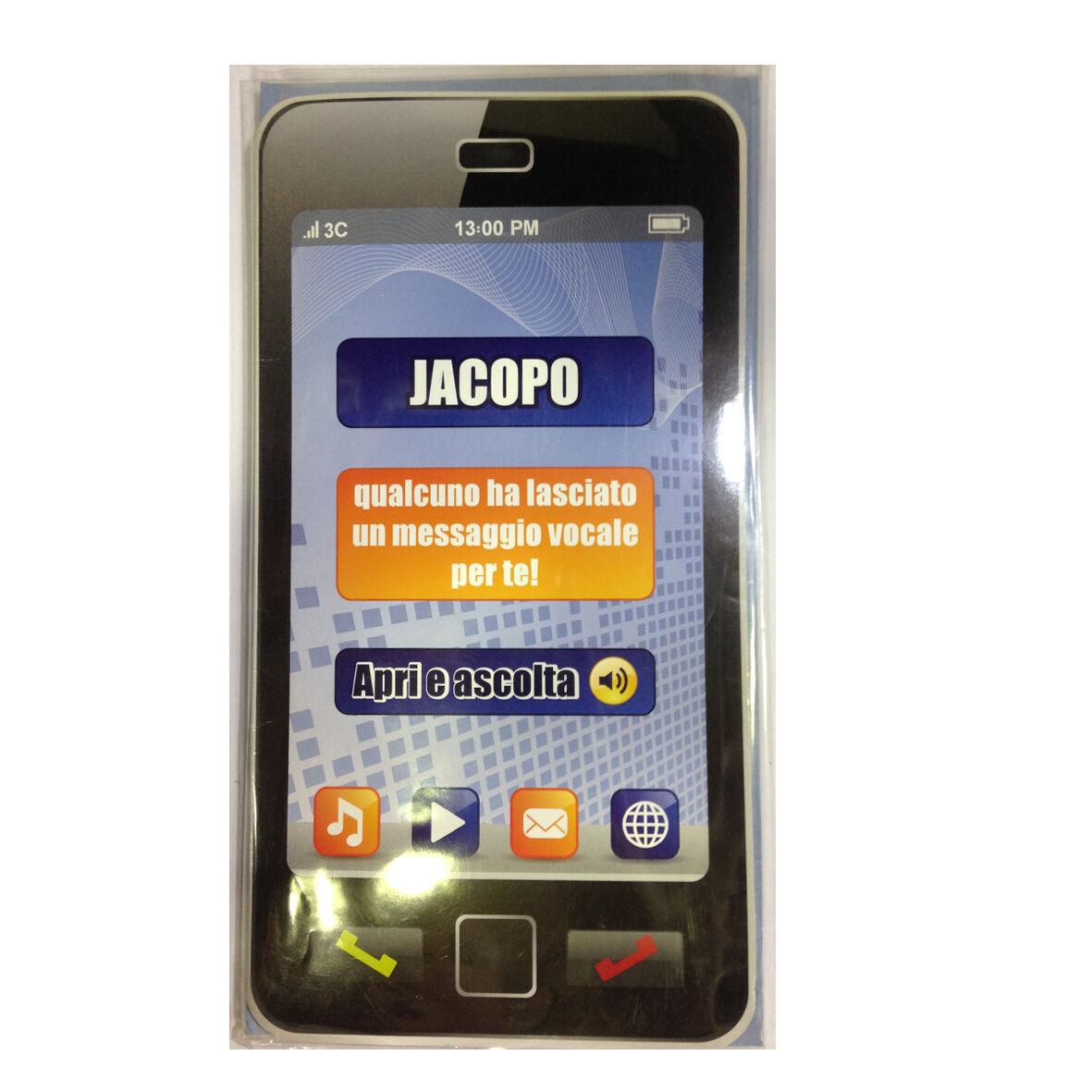 COMPLEANNO biglietto musicale a telefono squilla segreteria nome JACOPO
