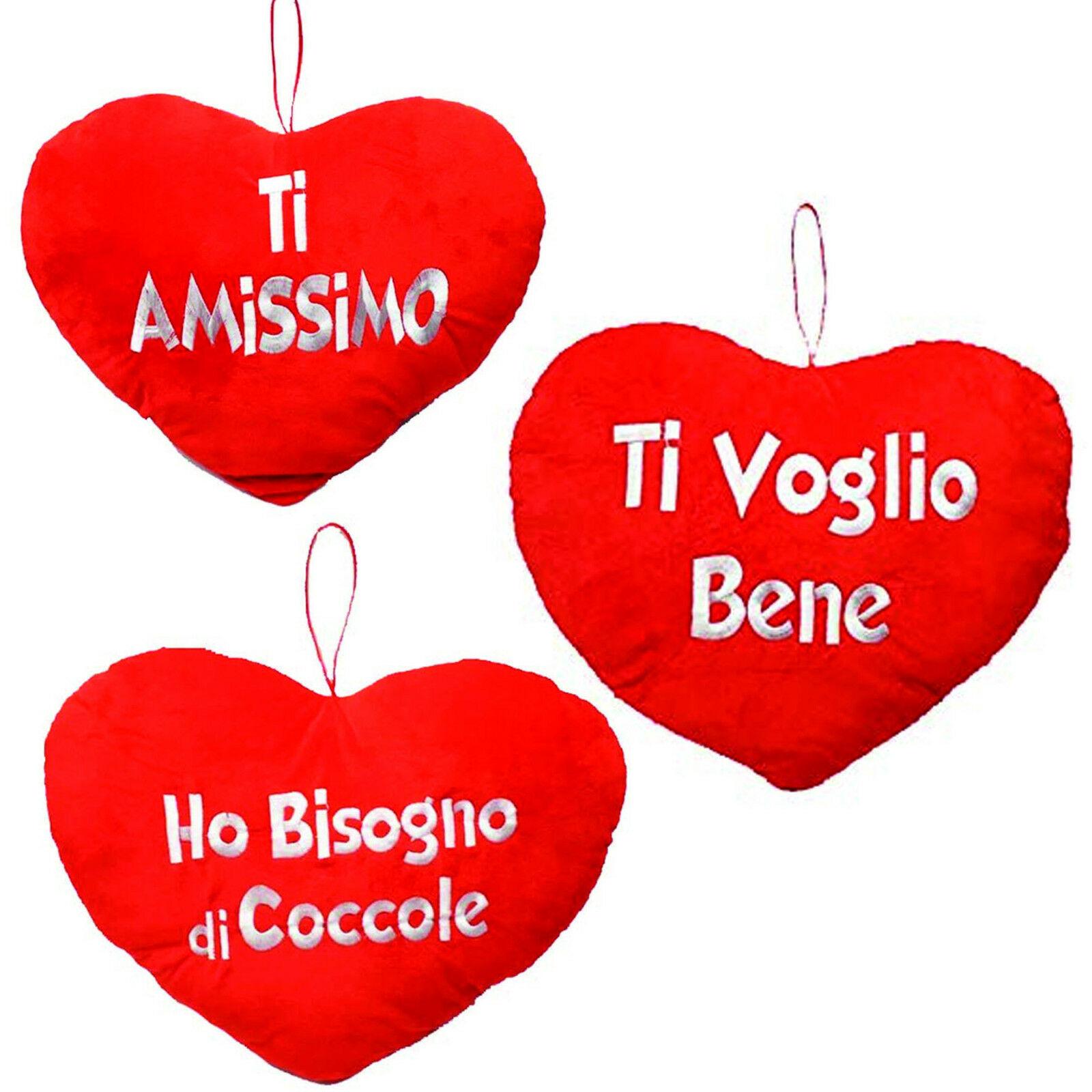 SAN VALENTINO CUORE PELUCHE CUSCINO messaggi d'amore 35X27CM CIRCA 3 VARIANTI