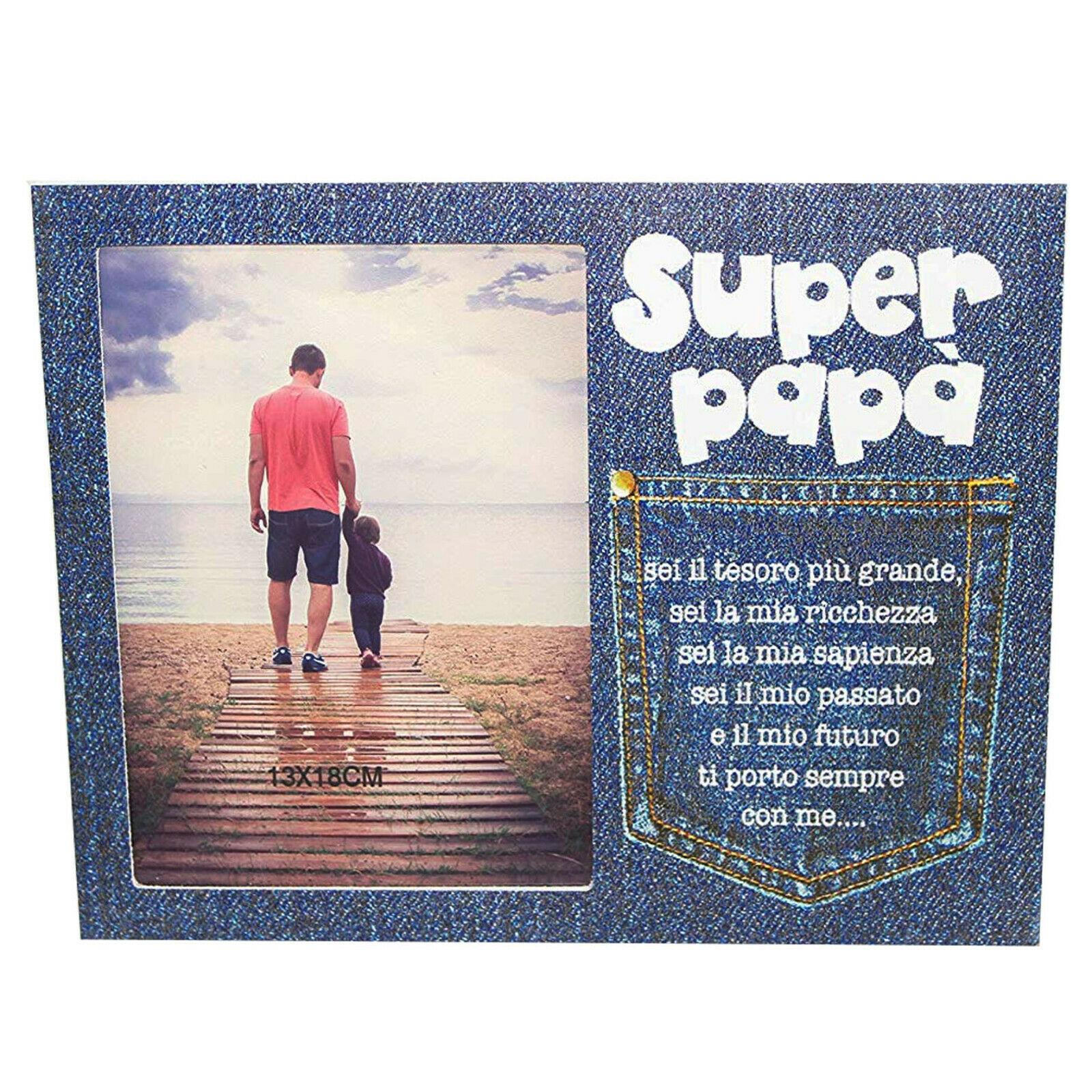 Festa del Papà cornice portafoto stampa effetto Jeans dim:19,5x25cm circa
