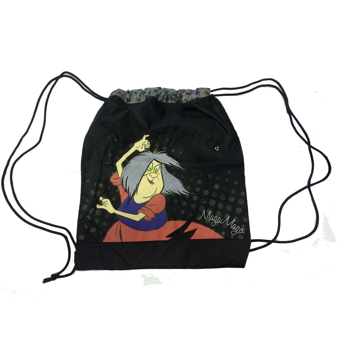 MAGA MAGO' Sacca zaino coulisse in cordura nero pesante stampato 43,5x36,5 cm
