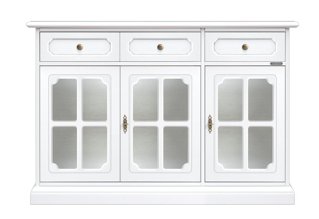 Aparador blanco puertas vitrinas y cajones en madera Luxory