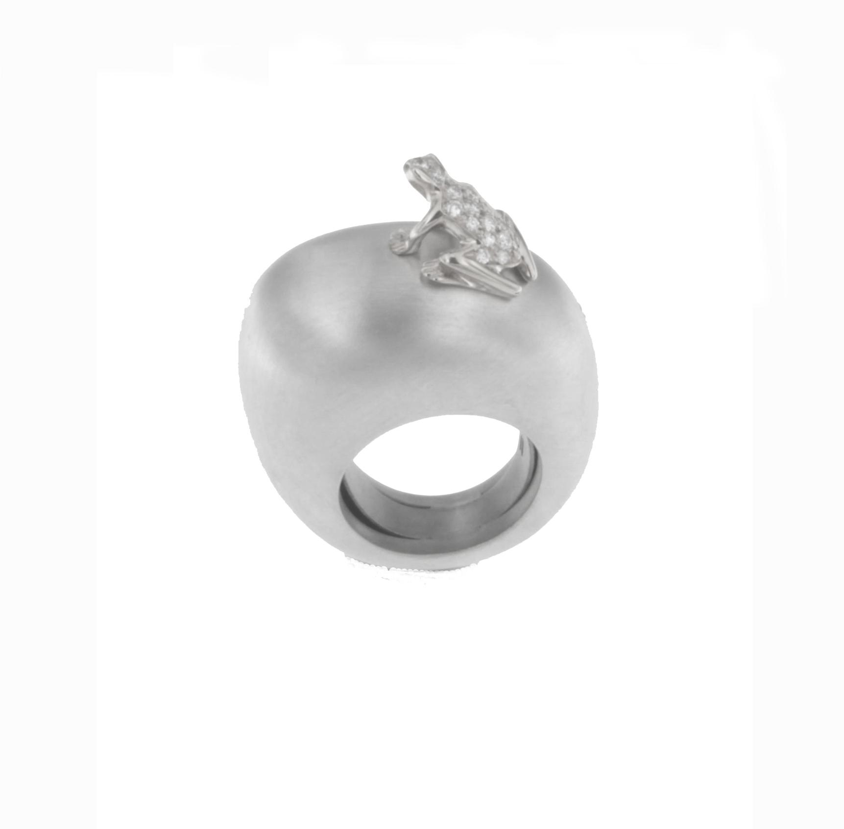 Anello base grande argento, oro bianco 18k e diamanti
