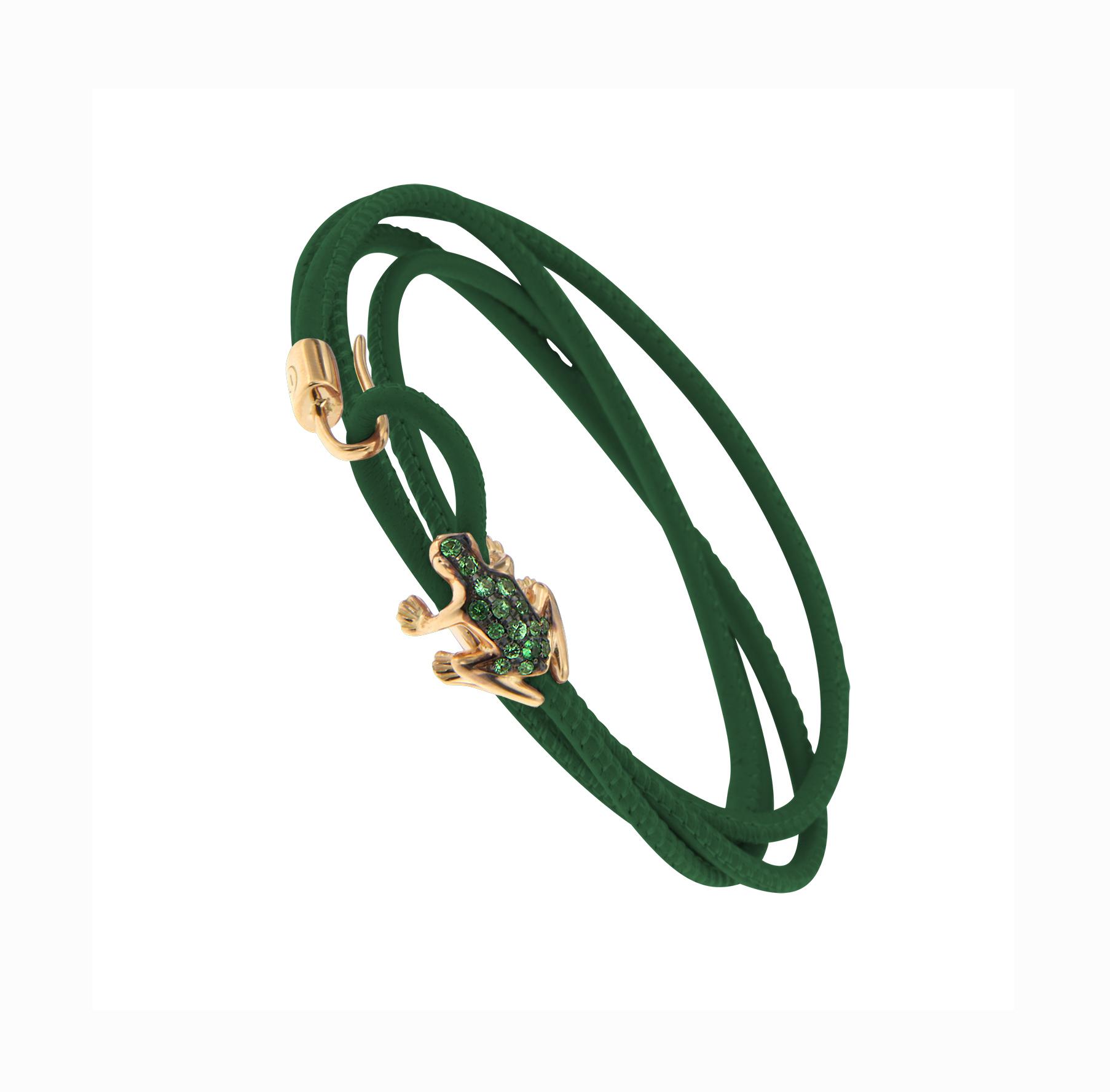 Bracciale in pelle verde, oro rosa 18k e smeraldi