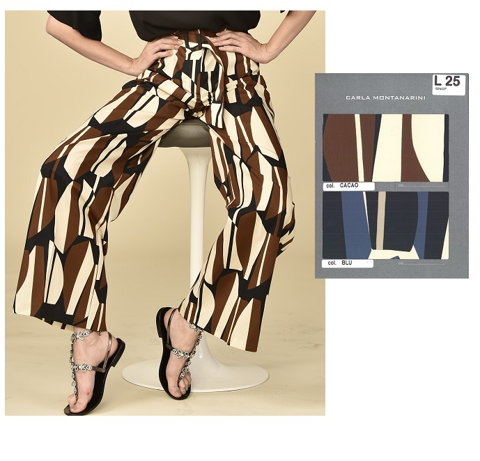 Pantalone lungo con cintura tessuto e fibbia ricoperta