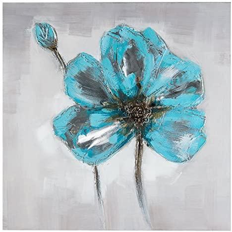 Dipinto a Mano Blue Flower- 80x80