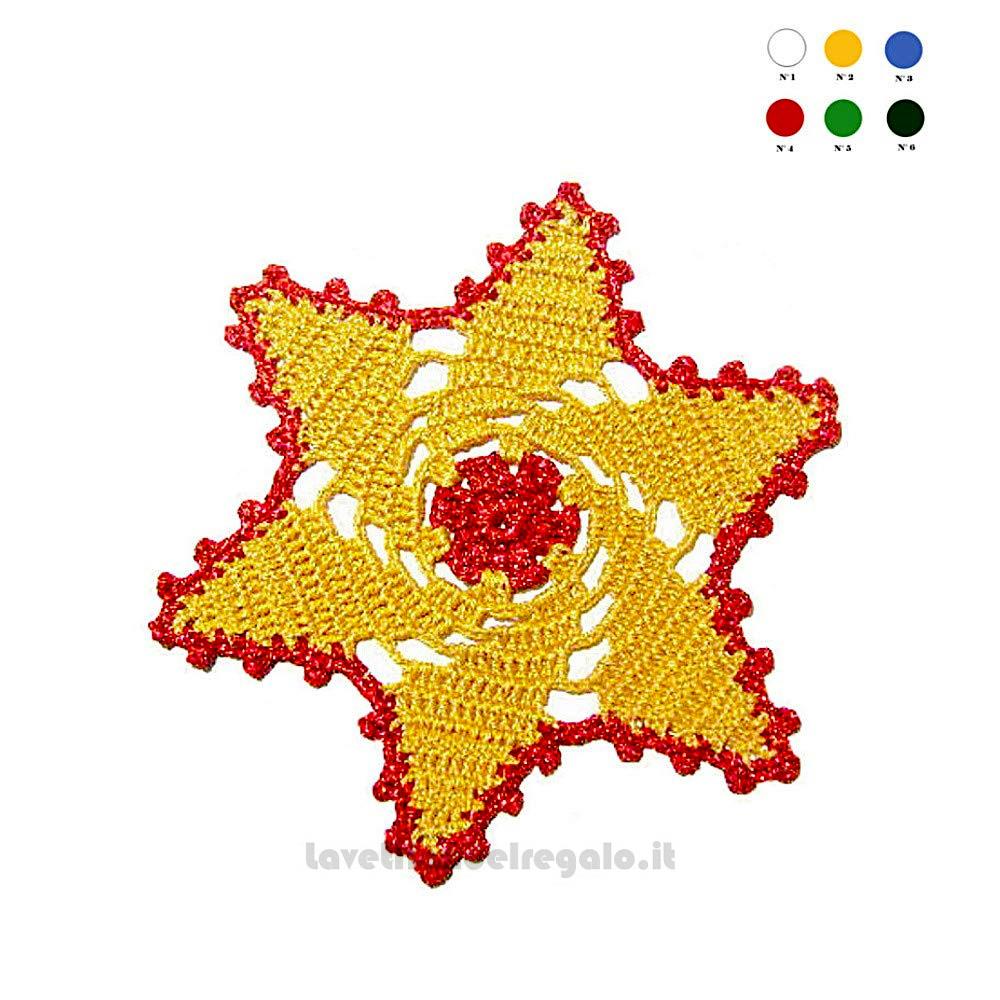 Sottobicchiere giallo oro e rosso ad uncinetto 15 cm - Handmade - Italy