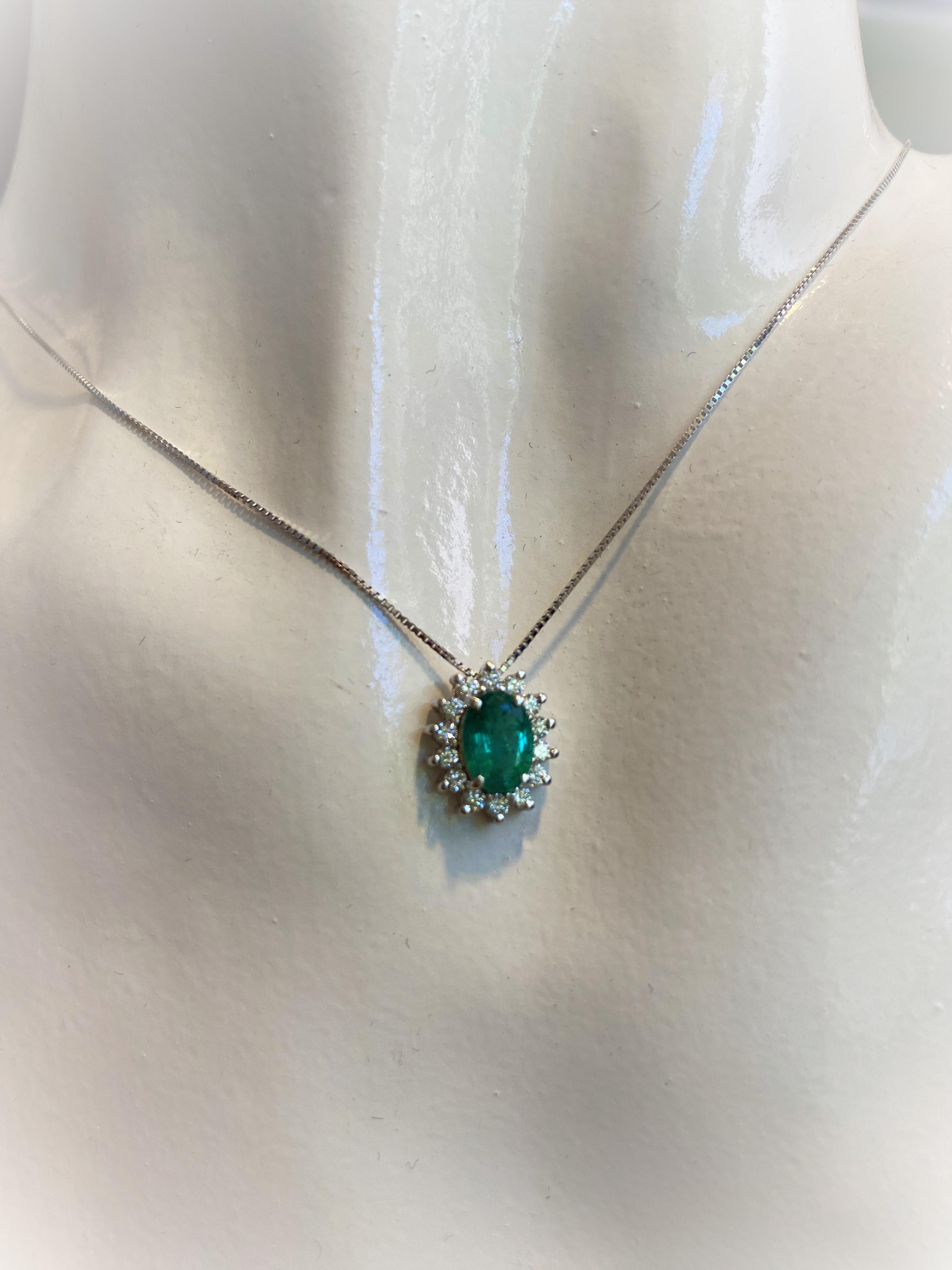 Collana girocollo oro bianco con prezioso Smeraldo o Rubino e diamanti