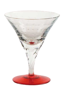 Coppa vetro soffiato trasparente rosso B.A. (6pz)