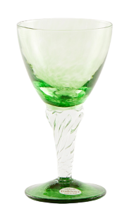 Glass blown Ice cream cup grit Green Emerald (6pcs)