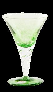 Glass blown Ice cream cup grit Green Emerald (6pcs)