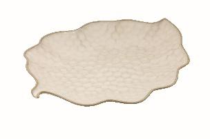 Beige Leaf Tray - Stoneware