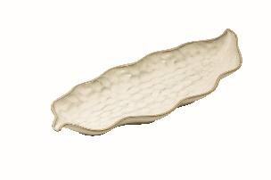Beige Narrow Leaf Tray - Steinzeug