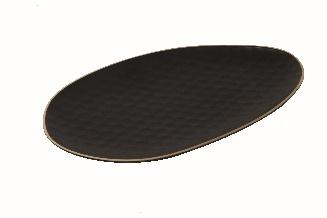 Matt Schwarz Oval Tray - Steinzeug