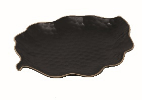 Matt Black Leaf Tray - Stoneware