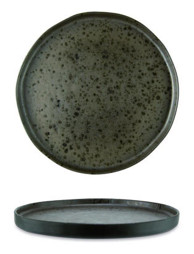 Piatto piano color marrone con puntini reattivi marroni
