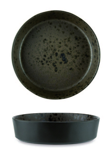 Brown soup plate with brown reactive dots
