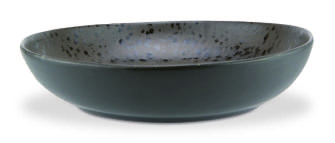 Brown high bowl with brown reactive dots - Stoneware